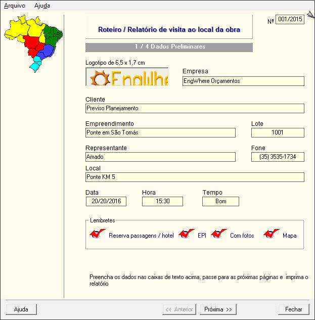 Roteiro e Relatório de Visita ao Local da Obra - Dados Preliminares